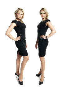 Two attractive young women in a black dress